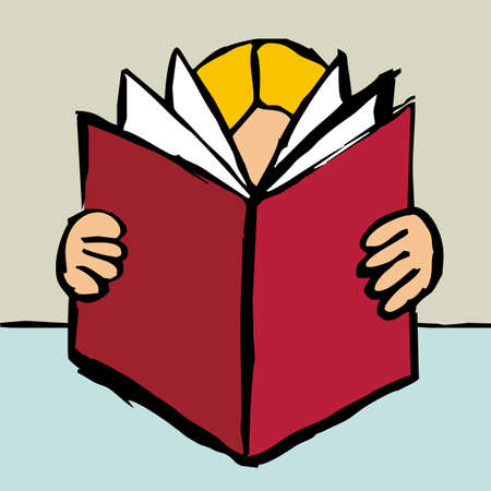 reader: Cartoon style drawing of one blonde person reading a big red book.