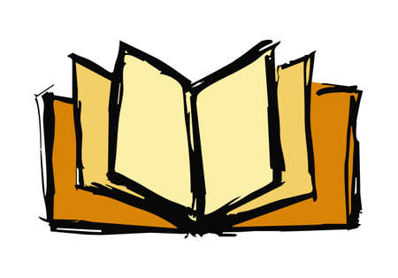 book reader: Hand drawn sketch of an open book over white background.