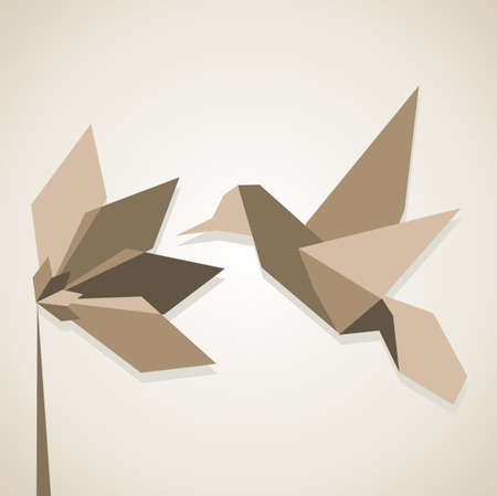 Origami monochromatic brown colors hummingbird and flower.  Vector