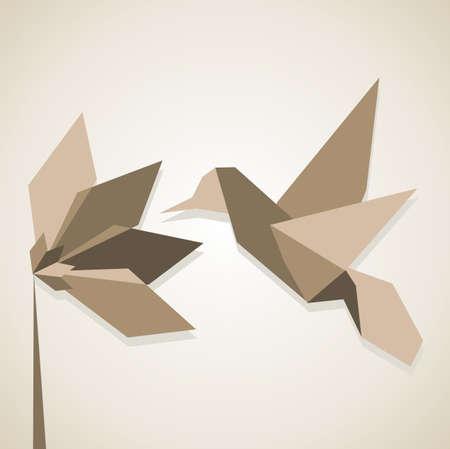 humming: Origami monocrom�tica colores marr�n colibr� y flor.