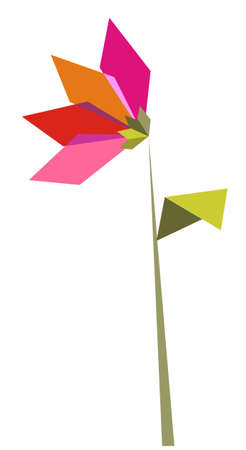 small flower: Origami vibrant colors flower. Vector file available.