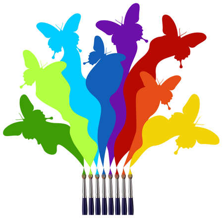 brushes: Eight paint brushes drawing a colorful rainbow of a butterfly swarm.  White background Illustration