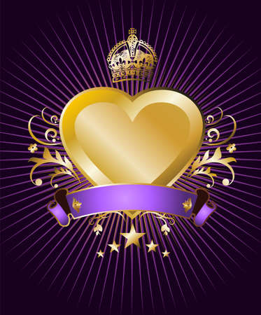 Label with a golden, crowned and winged heart on violet background Vector