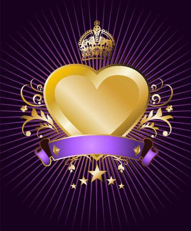 Étiquette avec un coeur or, couronné et ailé sur fond violet