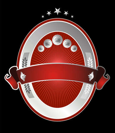 Label with a red and silver oval with stars on top and one horizontal band crossed on black background Vector