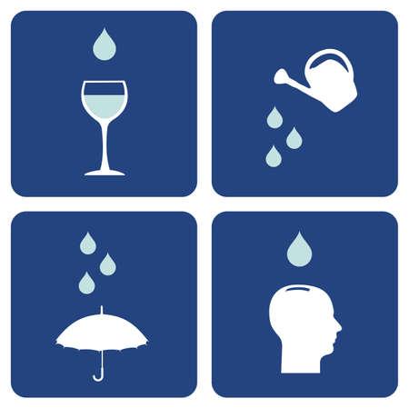 중요: Environment pictograms series: icons composition about water care importance. 일러스트