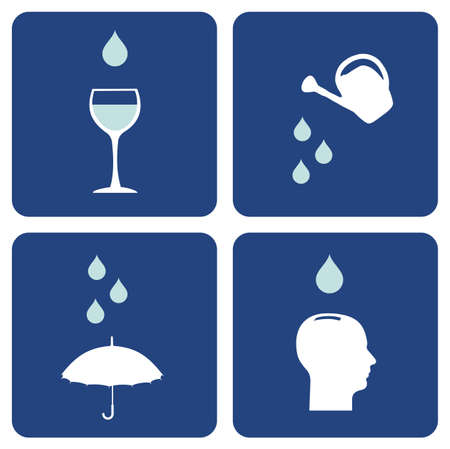 importance: Environment pictograms series: icons composition about water care importance. Illustration