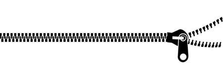 Czarny zip na białym tle.  Ilustracje wektorowe