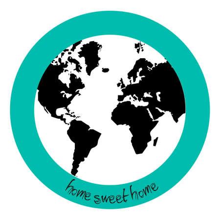 conciencia moral: Asesorar con el planeta tierra y la leyenda de hogar dulce hogar  Vectores