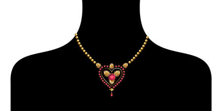 choker: black female silohuette with golden neckless on white background