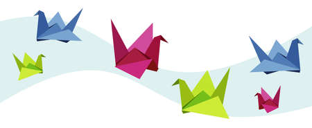 swan lake: Group of various Origami vibrant colors swan.  Illustration