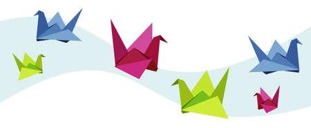 origami oiseau: Groupe de divers origami �clatantes couleurs Cygne.  Illustration