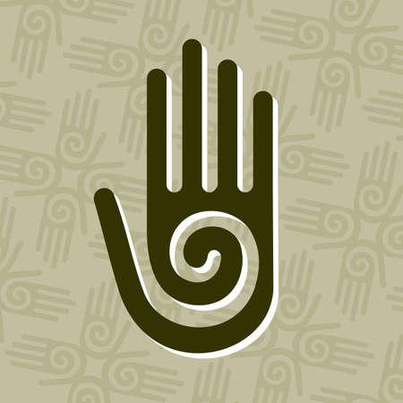Mano con un símbolo de la espiral en la Palma, en un círculo de fondo de las manos.