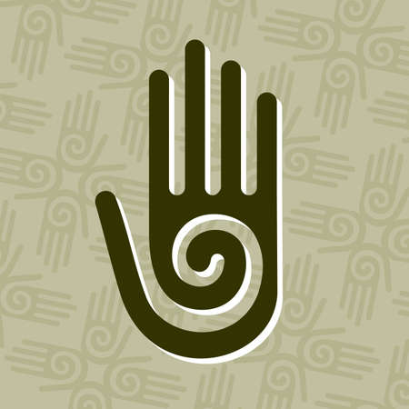 solidarity: Hand with a spiral symbol on the palm, on a circle of hands background. Illustration