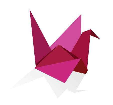 paper flying: One Origami vibrant colors swan.  Illustration