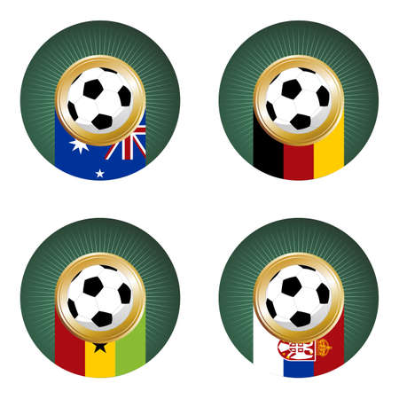 socer: Composition with soccer ball over countries flags. Group D in a soccer championship.