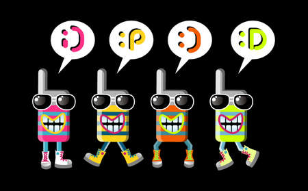 top animated: Group of four funky mobile phones mascots with different expressions. Emoticons over them.