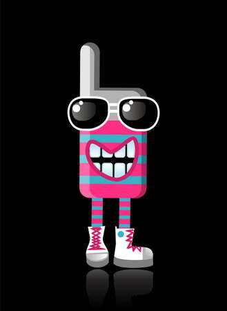 top animated: Expressive funky mobile phone mascot laughing. Illustration