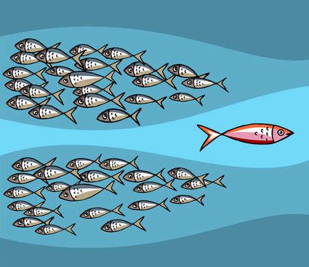 흐름: Different Fish Swimming Against The Tide. 일러스트