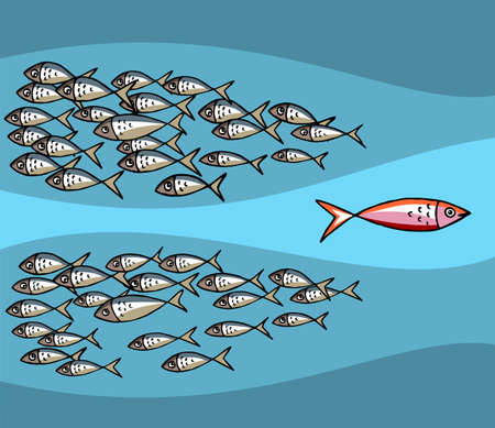 fishy: Different Fish Swimming Against The Tide. Illustration