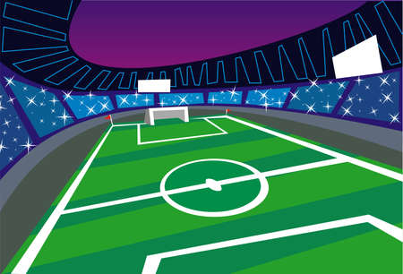 Illustration of an soccer stadium. Soccer fans are taking pictures from the terraces. Векторная Иллюстрация