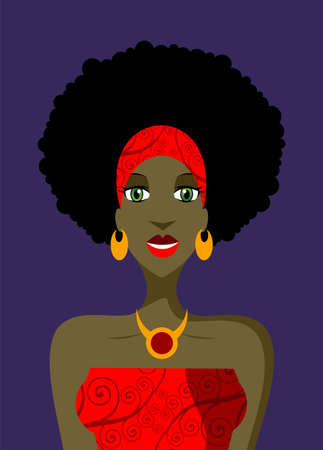 Afro woman with vintage haircut in red dress on violet background. available Vector