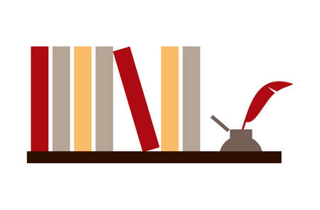 Library shelf with books and inkwell on white background. available