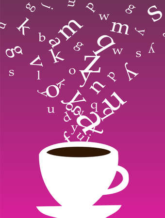 Smokey cup of coffee with letters floating above on purple background.  available Stock Vector - 7097780