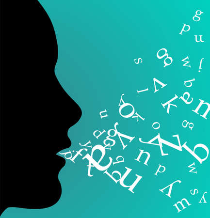 Female profile speaking and throwing letters from her mouth on green background. available.