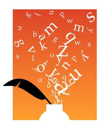 poezie: Witte inkwell met zwarte veer en witte letters zwevend boven op een oranje achtergrond en witte frame.  beschikbaar. Stock Illustratie