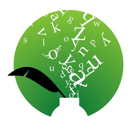 escritores: Tintero blanco con calado negro y letras blancas flotando por encima sobre fondo verde y marco blanco.  disponible