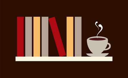 reads: Library shelf with books and cup of coffee.  available