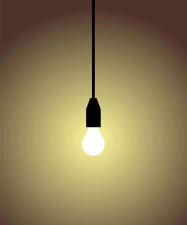 edison: white light bulb on brown background. Concepts of light, idea, brillant, inteligence.  Illustration