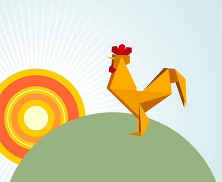 rooster and morning sun: One Origami vibrant colors rooster. Vector file available.