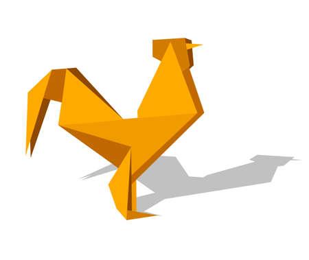 rooster at dawn: Un gallo di colori vibranti di origami. File vettoriali disponibile.