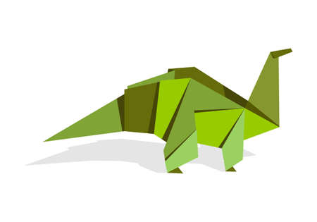 small paper: One Origami vibrant colors dinosaur. Vector file available. Illustration