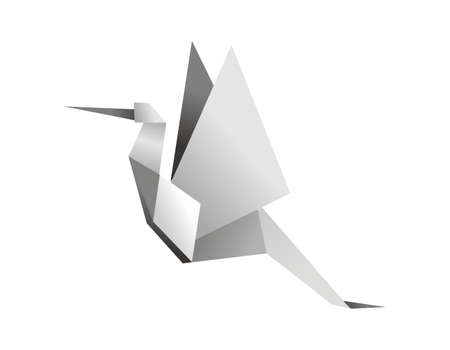 origami bird: One Origami grey colors stork. Vector file available. Illustration