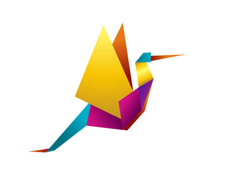 bird icon: One Origami vibrant colors stork. Vector file available. Illustration