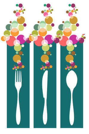 Cutlery icons. Fork, spoon, knife silhouettes in banners with colorful circles on green background. Stock Vector - 7929001