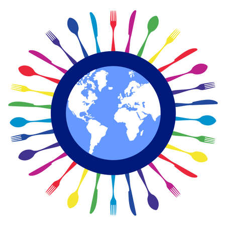 Cutlery icons. Colorful cutlery silhouettes around Earth planet on white background. Vector