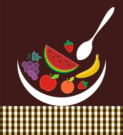 Colorful fruits silhouettes composition on the table and over brown background.  Vector