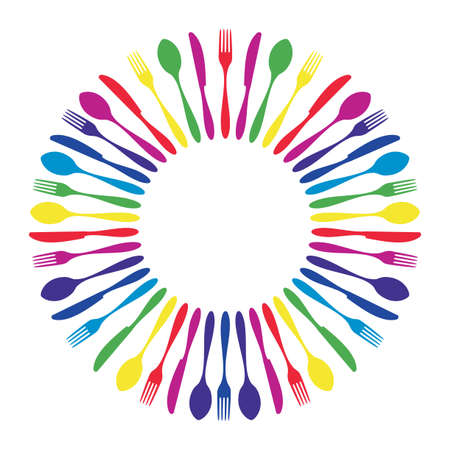 Cutlery icons. Colorful cutlery silhouettes in circle on white background.  Vector