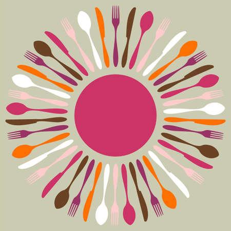 uitnodigen: Bestek pictogrammen. Vork, mes en lepel silhouetten in cirkel op beige achtergrond.