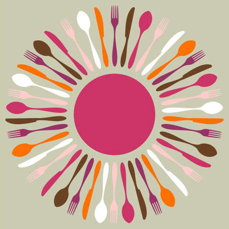 fork knife: Cutlery icons. Fork, knife and spoon silhouettes in circle on beige background.  Illustration