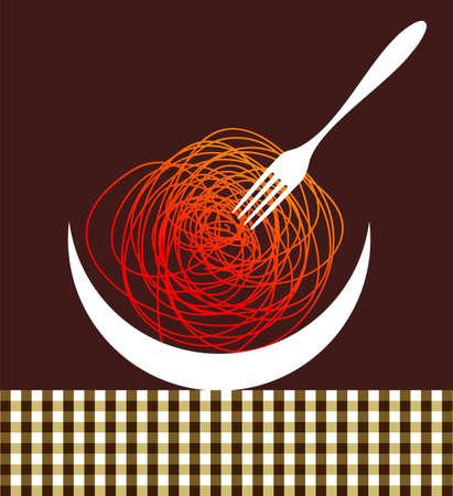 plato pasta: Composici�n de siluetas de fideos en la Mesa sobre fondo de color marr�n.