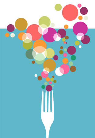 gastronomic: Cutlery icons. One fork silhouette with colorful circles on light blue background. Illustration