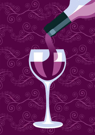 purple grapes: Restaurant icon. Wine bottle serving a glass silhouettes on purple background. Vector available. Illustration