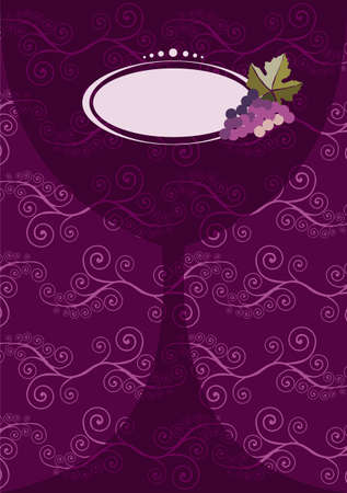 diffuse: Restaurant icon. Diffuse wine glass silhouette with grapes on purple background useful for menu design. Illustration