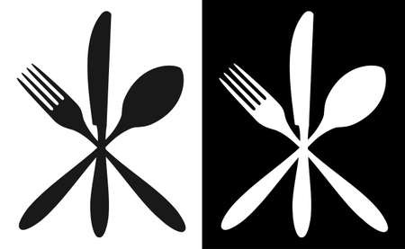 Cutlery icons. Fork, knife and spoon silhouettes on black and white backgrounds. Vector