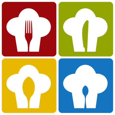 gastronomic: Chef icons. Chef hat silhouette pattern with cutlery inside on different background.